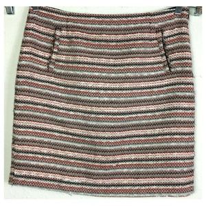 Halogen 14 Gray Coral Tweed Lined Back Vent Skirt